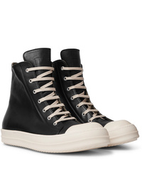 Rick Owens Cap Toe Leather High Top Sneakers