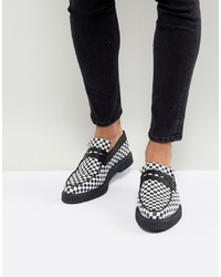 ASOS DESIGN Asos Loafers In Black And White Checkerboard Print With Creeper Sole