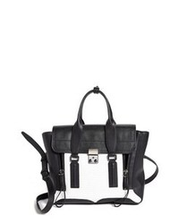 Black and White Leather Satchel Bag