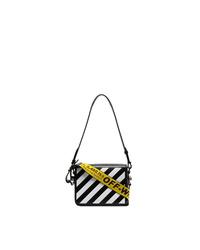 Off-White Black And White Diag Binder Clip Leather Shoulder Bag