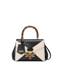 Gucci Black White Queen Margaret Leather Tote Bag