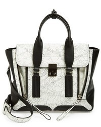 3.1 Phillip Lim Medium Pashli Cracked Leather Panel Satchel