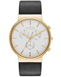 Skagen Ancher Chronograph Leather Strap Watch 40mm