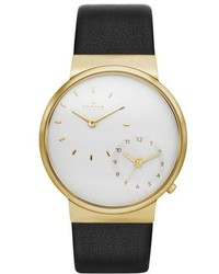Skagen Ancher Dual Time Leather Strap Watch 40mm