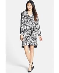 Black and White Leopard Chiffon Shirtdress