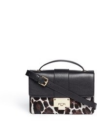 Black and White Leopard Leather Crossbody Bag