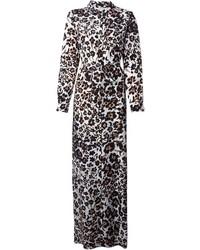 Diane von Furstenberg Maxi Leopard Print Shirt Dress