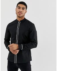 ASOS DESIGN Slim Shirt With Manderin Collar With Contrast Piping