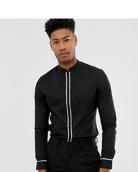 ASOS DESIGN Tall Slim Shirt With Manderin Collar With Contrast Piping