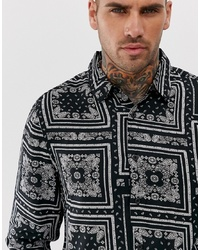New Look Regular Fit Shirt With Paisley Print In Black