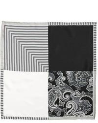 Black and White Paisley Pocket Square