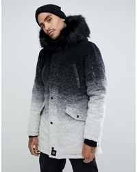 Sixth June Parka Coat In Faded Black And White With Faux Fur Hood