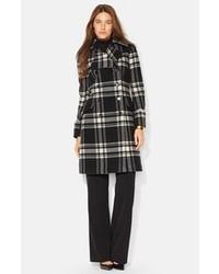 Lauren Ralph Lauren Plaid Double Breasted Wool Blend Coat