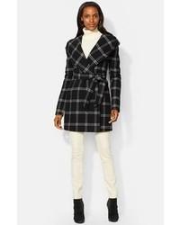 Windowpane plaid hooded wrap coat medium 100679