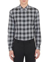 Black and White Plaid Long Sleeve Shirt