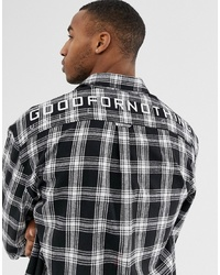 Good For Nothing Oversized Check Shirt In Black With Back Logo