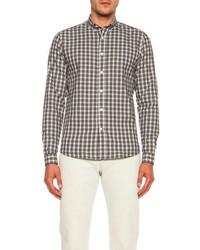 Plaid button down cotton shirt medium 73966