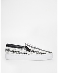 Black and White Plaid Slip-on Sneakers