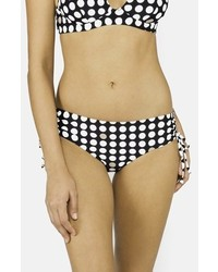 DKNY Traffic Dot Shirred Bikini Bottoms Black Medium