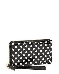 Black and White Polka Dot Leather Clutch