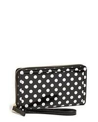 Halogen Polka Dot Patent Leather Zip Around Wallet Black White Dot One Size