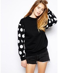 Polka dot sleeve classic sweatshirt black medium 39438