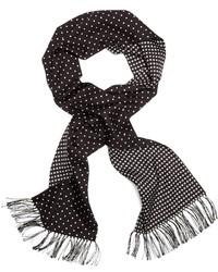 Black and White Polka Dot Silk Scarf
