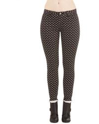 Black and White Polka Dot Skinny Pants