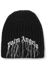 Palm Angels Logo Embroidered Ribbed Wool Beanie
