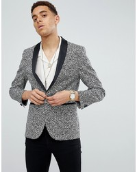 MOSS BROS Moss London Skinny Blazer In Printed Monochrome