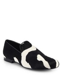 Black and White Print Canvas Loafers