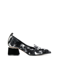 Black and White Print Canvas Pumps