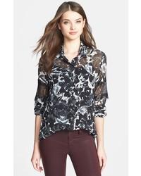 Black and White Print Chiffon Dress Shirt