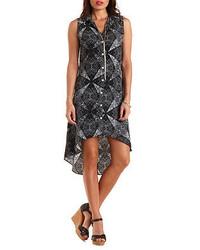 Black and White Print Chiffon Shirtdress