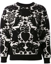 Black and White Print Crew-neck Sweater