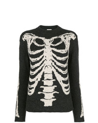 Saint Laurent Jacquard Knit Skeleton Sweater