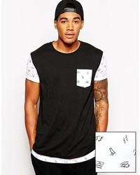 Asos Brand Longline T Shirt With Egyptian Printed Double Layer Effect And Skater Fit