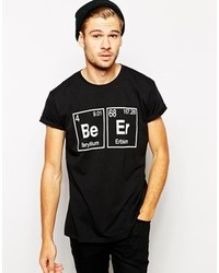 Asos T Shirt With Beer Print And Rolled Sleeve Skater Fit Black