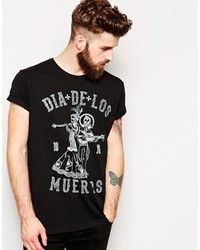 Asos T Shirt With Day Of The Dead Print And Rolled Sleeve Skater Fit Black