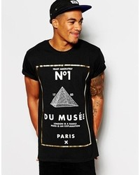 Asos T Shirt With Monochrome Gold Foil Print And Rolled Sleeve Skater Fit Black