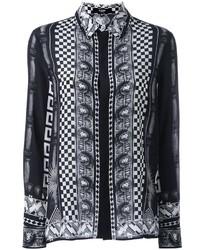 Multi print button down shirt medium 1213462