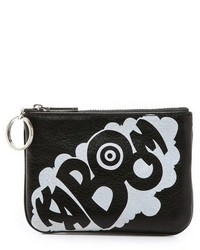 Black and White Print Leather Clutch