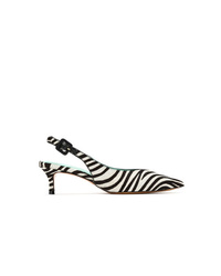Blue Bird Shoes Leather Zebra Slingback Pumps