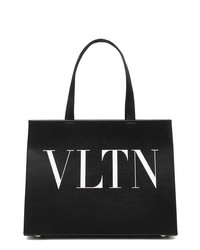 Black and White Print Leather Tote Bag
