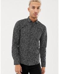 Hugo Ero3 W Extra Slim Fit Geo Print Shirt In Black