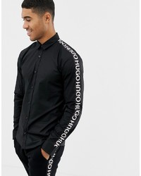 Hugo Ero3 W Extra Slim Fit Taped Logo Sleeve Shirt In Black