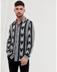 Bershka Printed Shirt In Black And White