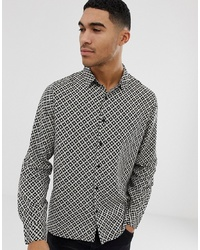 New Look Regular Fit Shirt With Mono Tile Print In Black