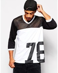 Asos Brand Oversized 34 Sleeve T Shirt In Mesh Cut Sew And 78 Print