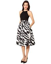 Black and White Print Midi Skirt